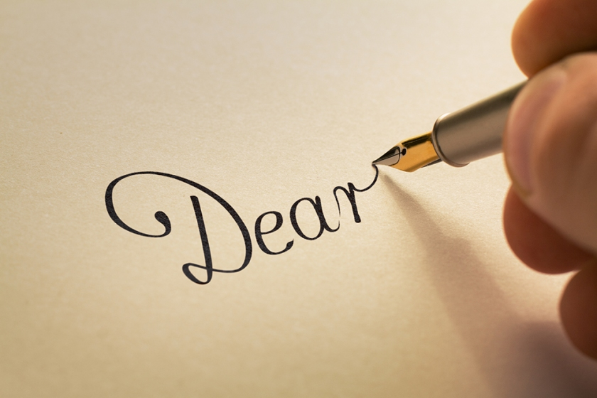 Handwriting letter with pen