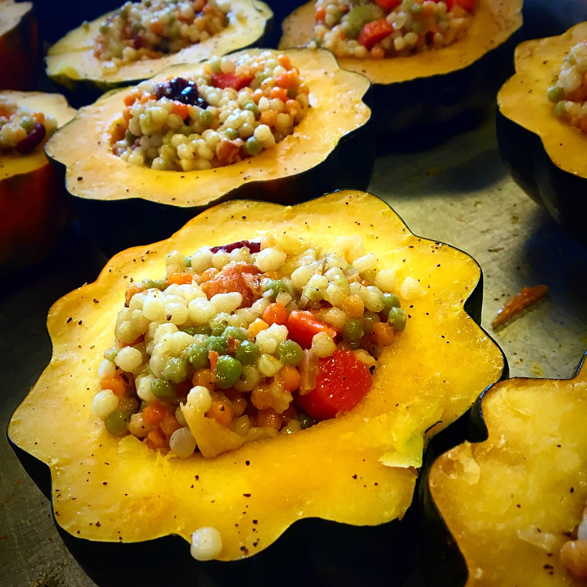 Vegetable Couscous Stuffed Acorn Squash! Pretty Food!