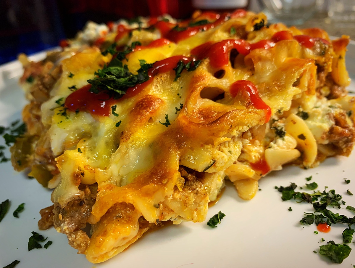 Kicked Up Beef Noodle Casserole.  Comfort Food, How we love Thee!
