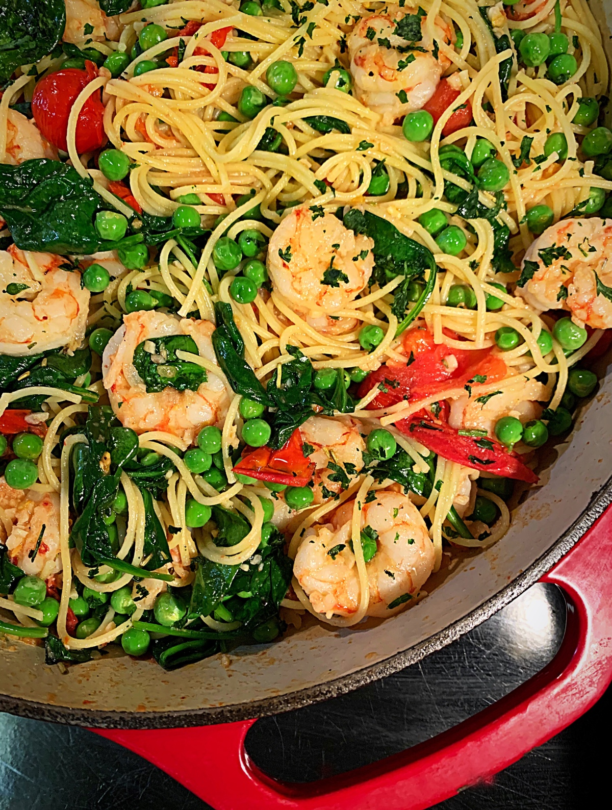 Bobbe's Garlic Shrimp with Fresh Peas, Spinach &Tomatoes